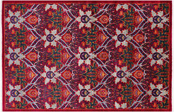 William Morris Hand Knotted Rug 6and039 1 X 9and039 2 - Q6542