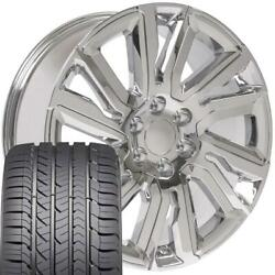 22x9 Wheels/tires Fit Chevy Silverado High Country Chrome Gy Tire