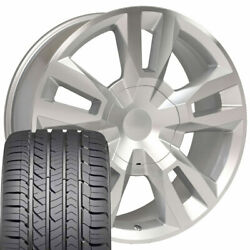 22x9 Silver Machined 5821 Wheel W/ Goodyear Tires Fits Chevy Tahoe Rst