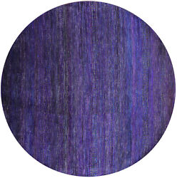 7and039 Round Savannah Grass Gabbeh Wool And Silk Hand Knotted Rug - Q6069