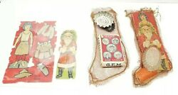 Early 1900's Girl Scouts Christmas Stocking Paper Doll Toys Santa Rare Primitive