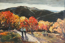 Fall Mountain Road Antique Impressionist Oil Painting By Thomas John Mitchell