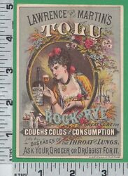 2647 Lawrence And Martin Tolu Rock And Rye Cough, Lung, Throat Medicine Trade Card