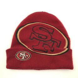 Vintage Nfl San Francisco 49ers Beanie Hat Cap Red Knit Embroidered Football 90s