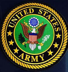 United States Army Large Back Patch For Vest Jacket 10 Inch/ Red/black/gold