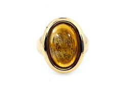 Vintage 1994 Citrine Solitaire Band 18k 750 Yellow Gold Ring Sz 52 Us 6