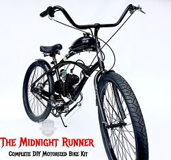 Midnight Runner - Motorized Bicycle Kit - Diy And Save - Engine And Bike
