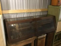 Vintage Angled Display Case- Beautiful Wood And Glass W/ Sliding Doors