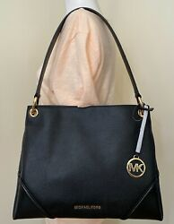 Michael Kors Nicole Black Pebbled Leather Medium Shoulder Tote Bag Purse $103.98