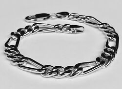 18k Solid White Gold Figaro Curb Link Menand039s Chain Bracelet 10 33 Grams 7 Mm