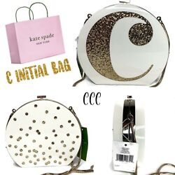 """NWT $398 Kate Spade Evening Belles Initial quot;C"""" Clutch Wedding Bag White Gold $249.00"""