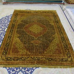Yilong 6and039x9and039 Medallion Handmade Silk Carpet Antique Hand Woven Area Rugs 095b