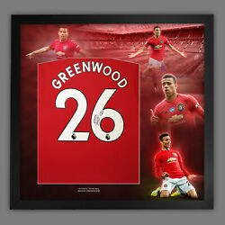 Mason Greenwood Hand Signed Man United Football Shirt In Framed Picture Display