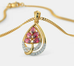 Christmas 0.51ct Natural Round Diamond Ruby 14k Solid Yellow Gold Pendant
