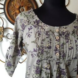 Maurices Cotton Top Small Women Cotton Floral Button $12.00