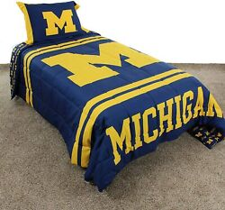 College Covers Michigan Wolverines Comforter Set, Twin, Team Color