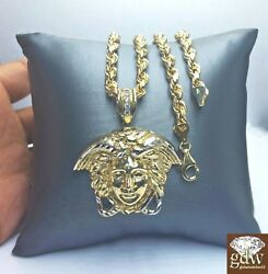 Real 10k Yellow Gold Medusa Head Charm/pendant And Rope Chain In Various Length