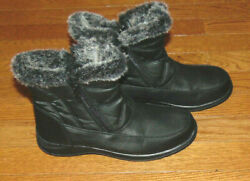 TOTES Women's Weather Footwear Black Boots Gray Faux Fur Skid Resistant 7M $34.00