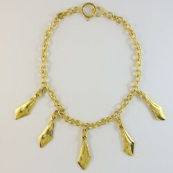 Signed Vintage Gold Tone Necklace With 'cc Logo' Charms