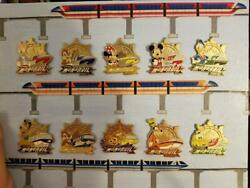 Disney Parks Monorail Character Pins 10-pin Set Including Both Chasers