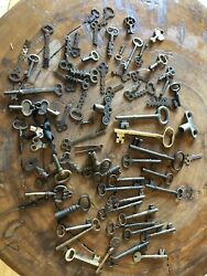 """Collection Of Antique Keys Brass And Other Metal, 5 1/2"""" To Small Sizes 70+ Keys"""