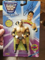 1997 Wwf Just Toys The Rock Wrestling Rookie Rc Bend Ems Signed Autograph Jsa