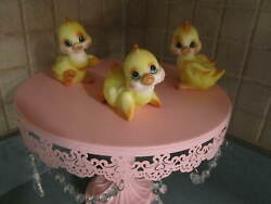 3 Norcrest Vintage Baby Chicks Chickens Blue Eyed Whimsical Ducks A573 Japan