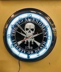 17 Retro White Neon Liberty Or Death 1789 Sign Garage Or Game Room Wall Clock
