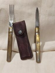 ➡➡ww1 German Fork And Knife Field Set. Very Rare Silvered Brass+ Case Wwi