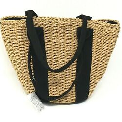 FREE PEOPLE Straw Beach Bag Purse Tote Hobo Small Handheld Drawstring Travel NWT $50.00