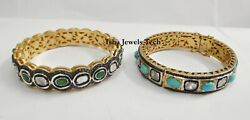 Victorian Natural Diamond And Diamond Polki Gold And Sterling Silver 2 Pieces Bangle