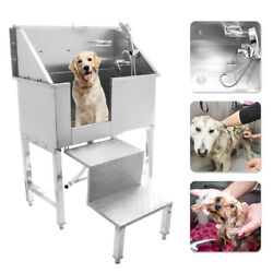 34 Stainless Steel Pet Grooming Bath Tub Dog Cat W/faucet Sprayer Hose/stair