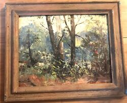 Original Louis Rauch Landscape Forest Trees Oil On Board Painting 20x15 Unframed