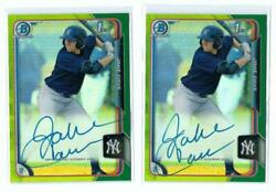 2015 Bowman Chrome Green Refractor Rc Auto Lot Jake Cave 2 Cards /99