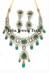 Fine Natural Diamond And Diamond Polki 925 Sterling Silver Necklace Earring Set