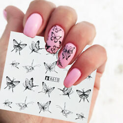 Black Tattoos Tips Nails Art Decoration Nail Sticker Water Transfer Decal