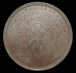 1801 Preliminaries For Treaty Of Amiens 38mm Bronze Medal - By Kettle