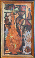 Abstract Vintage Modern Cubist Still Life W Jug Painting By Thalia Cleopa Greece