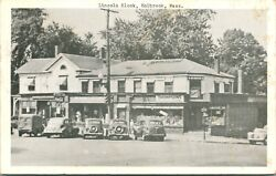 Postcard 1940s - Lincoln Block Holbrook Ma Street View Cars Coke Sign Thompsons