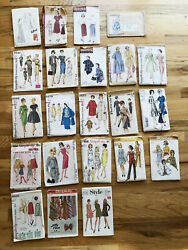 Vintage Lot 22 Sewing Patterns 1940s 1950s 1960s 1970s Clothing Ladies Stylish