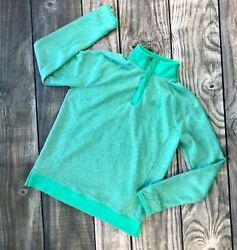 EUC Under Armour Youth Large Girls Sweatshirt Green Snaps Pullover Shirt $19.99