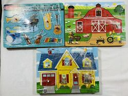 Melisss And Doug Lot Of 3 Sound Wooden Puzzles House Barn Farm Musical Instruments