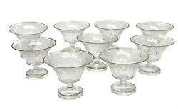 9 Moser Engraved Crystal Glass And Gilt Dessert Sherbet Compotes Floral And Birds