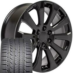 22x9 Black 5922 Rims And Gy Tires Set Fit Chevrolet And Gmc 1500 High Country