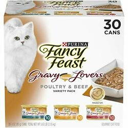 Purina Fancy Feast Gravy Lovers Poultry And Beef Wet Cat Food - 30 Cans 3 Oz