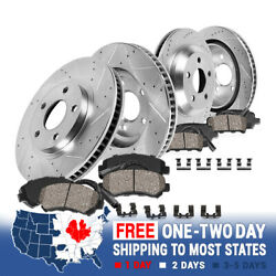 For Mercedes S430 S500 Cl500 Front+rear Drill Slot Brake Rotors +ceramic Pads