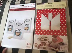 Lot Of 2 Christmas Cupcake Treat Pastry Cookie Boxes Holiday Polka Dot Owl New