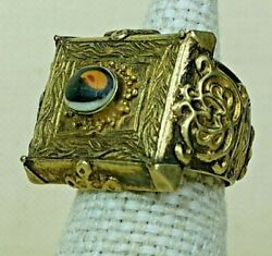 Antique Tibetan Electron Ring With Glass Desing 14th-16th Century.
