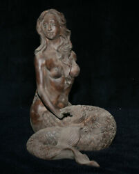 12.4 Old Chinese Porcelain Pottery Mermaid Sea-maid Sea-maiden Statue Sculpture