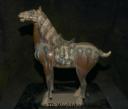 16.8 Antiquity Chinese Tang Sancai Pottery Dynasty Animal Stand Horse Statue